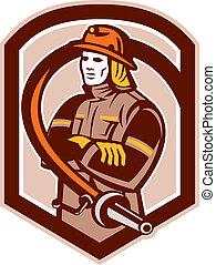 Fireman Firefighter Folding Arms Shield Retro