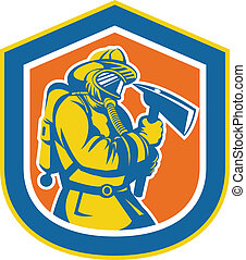 Illustration of a fireman fire fighter emergency worker holding a fire axe viewed from front set inside crest shield done in retro style.