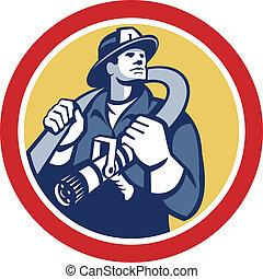 Fireman Firefighter Holding Fire Hose Retro