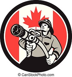 fireman-firefighter-hose CIRC GR CAN-FLAG - Icon retro style...