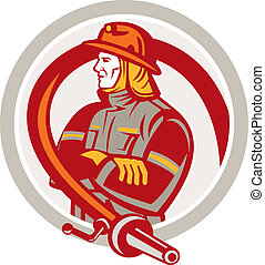Fireman Firefighter Standing Folding Arms Circle - ...