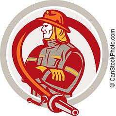 Fireman Firefighter Standing Folding Arms Circle -...