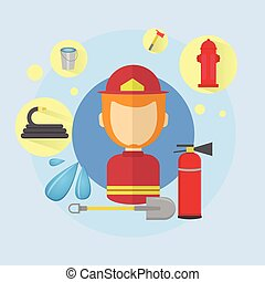 Fireman Firefighter Worker Icon