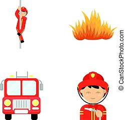 Fireman, flame, fire truck. Fire departmentset set collection icons in cartoon style vector symbol stock illustration web.