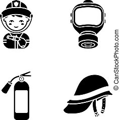 Fireman, gas mask, fire extinguisher, helmet. Fire...