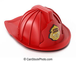 Fireman hat isolated on white background. 3D illustration
