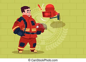 Fireman Hear Alarm Wearing Uniform Hold Helmet Ready Fire Fighter Stand Over Brick Background