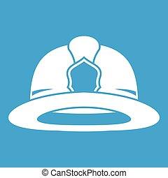 Fireman helmet icon white