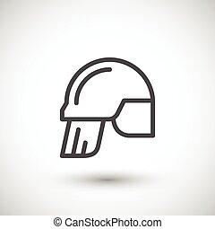Fireman helmet line icon