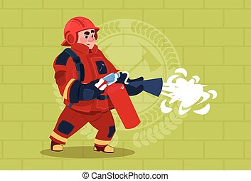 Fireman Hold Extinguisher Wearing Uniform And Helmet Adult Fire Fighter Stand Over Brick Background