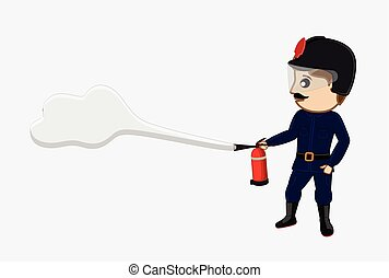 Fireman Holding a Fire-Extinguisher
