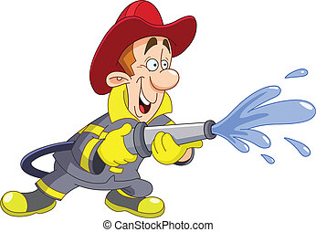 Fireman holding a fire hose