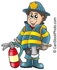 Fireman holding fire extinguisher - color illustration.