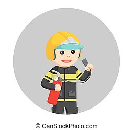fireman holding fire extinguisher in circle background