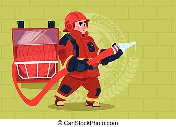 Fireman Holding Hose Wearing Uniform And Helmet Adult Fire Fighter Over Brick Background