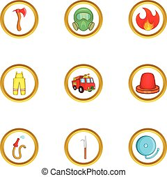 Fireman icon set, cartoon style