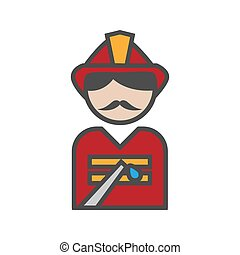 Fireman icon with uniform on white background