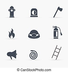 Fireman icons set. Vector illustration.