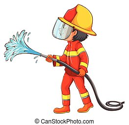 Fireman - Illustration of a fireman using water hose