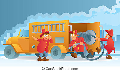 cartoon illustration of three fireman in action