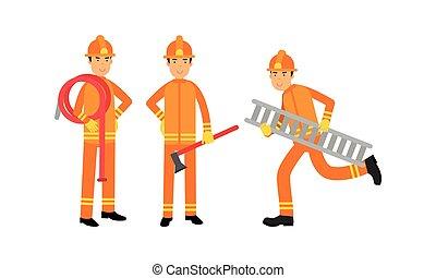 Fireman in Orange Uniform with Hosepipe and Ladder Working Vector Illustration Set