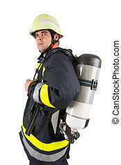 Fireman in uniform isolated