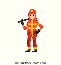 Fireman in uniform with axe, firefighter character at work vector Illustration on a white background