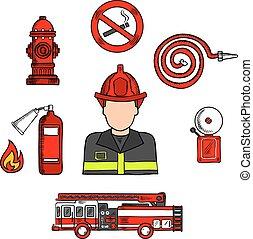 Fireman in uniform with firefighting equipments