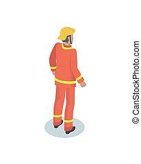 Fireman in uniform, working concept vector icon