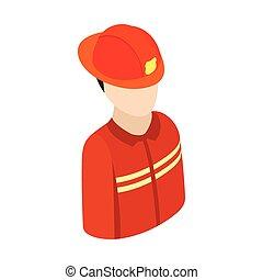 Fireman isometric 3d character icon