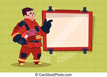 Fireman Leading Training Of Alarm On Board Wearing Uniform Hold Helmet Fire Fighter Over Brick Background