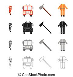 Fireman, machine, fire ax, fireman's protective suit. Fire Department set collection icons in cartoon black monochrome outline style vector symbol stock illustration web.
