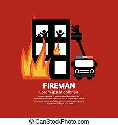 Fireman On Truck Helping The Victim