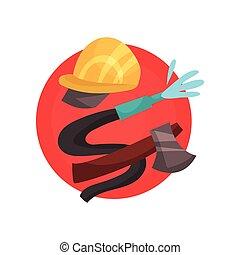Fireman profession icon, firefighter elements cartoon vector Illustration