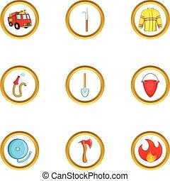 Fireman profession icon set, cartoon style