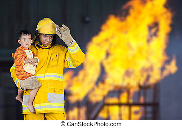 fireman rescued child from fire