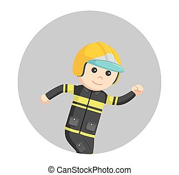 fireman running illustration design in circle background