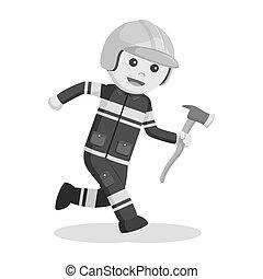 Fireman running with axe