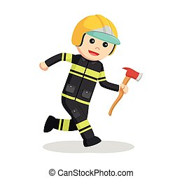 fireman running with axe