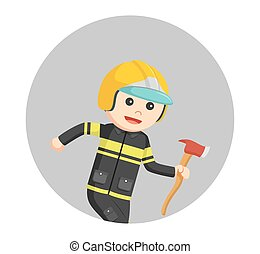 fireman running with axe in circle background