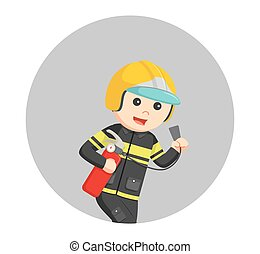 fireman running with fire extinguisher in circle background