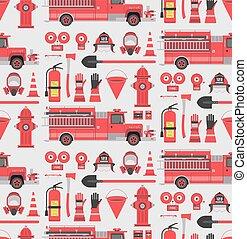 Fireman seamless pattern