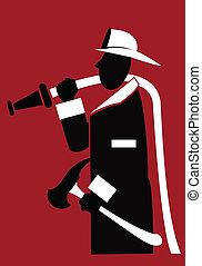Fireman - silhouette of a stylized figure of a fireman ...