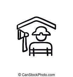 Fireman sketch icon.
