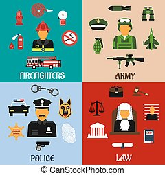 Fireman, soldier, judge and policeman icons