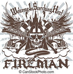 The vector image of the fireman in the form of an emblem with a skull