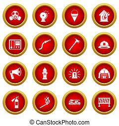 Fireman tools icon red circle set