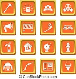 Fireman tools icons set orange