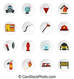 Fireman tools set flat icons