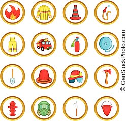 Fireman vector set, cartoon style